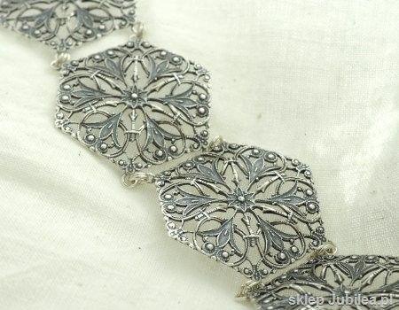 Isolda - srebrna szeroka ażurowa bransoleta