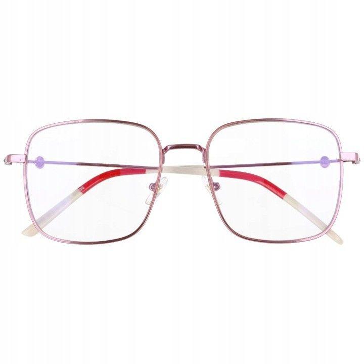 Okulary Kwadratowe z filtrem światła niebieskiego do komputera zerówki 2532-5