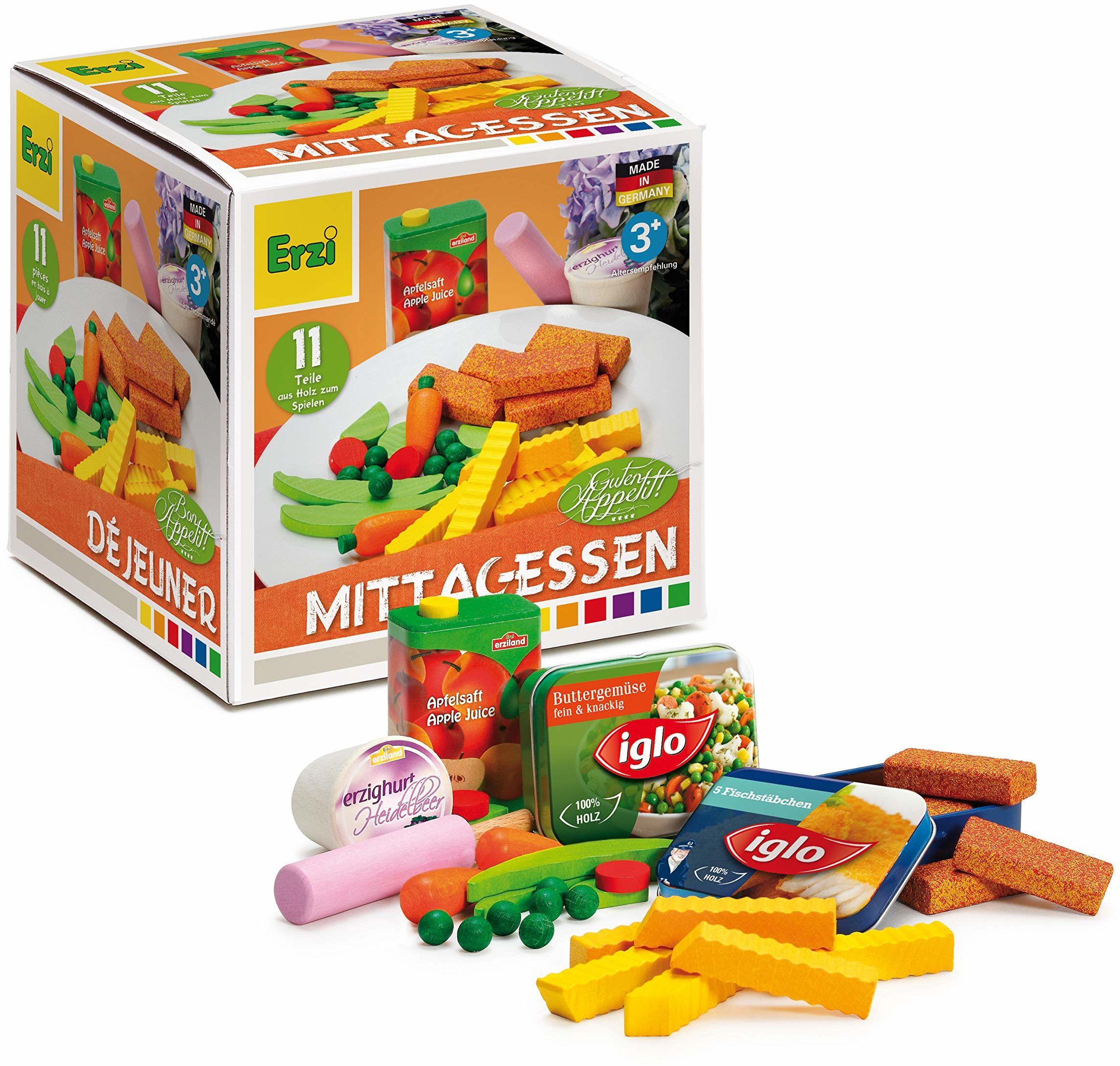 Erzi Zestaw zabawek, 12,3 x 12,2 x 12,5 cm, drewno, asortyment supermarketów, artykuły spożywcze, zestaw do zabawy