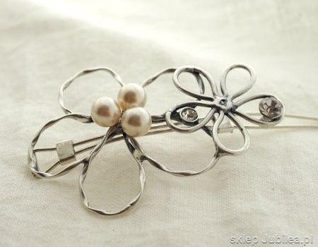 Srebrna spinka do włosów - dwa kwiaty