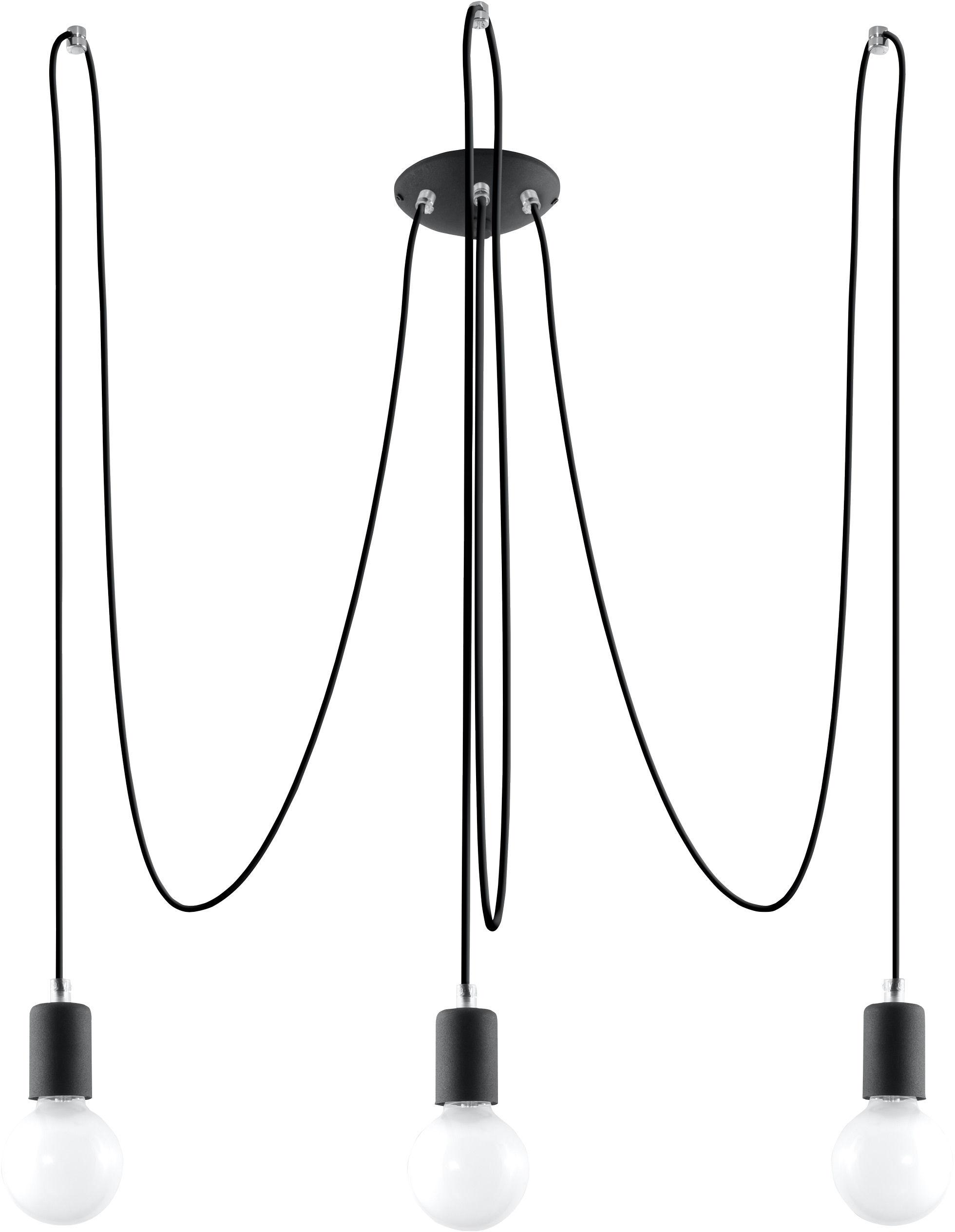 Żyrandol EDISON 3 Czarny pająk - Sollux