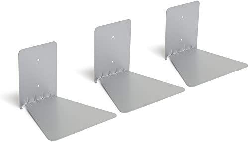 Umbra 1005073-560 Conceal 3-pak Book Shelf, pływający regał na książki z metalu, zestaw 3, srebrny