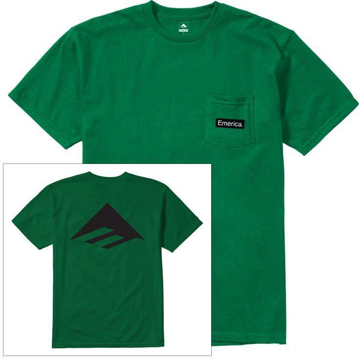 t-shirt męski EMERICA PURE TRIANGLE POCKET TEE Green