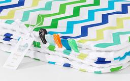 MAMO-TATO Kocyk Minky dwustronny Zygzak niebiesko-zielony / biały