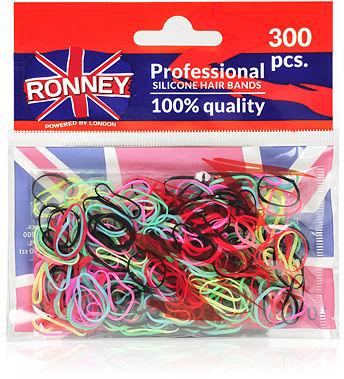 Ronney Profesjonalne gumki do włosów Silikonowe, kolorowe 300 szt.