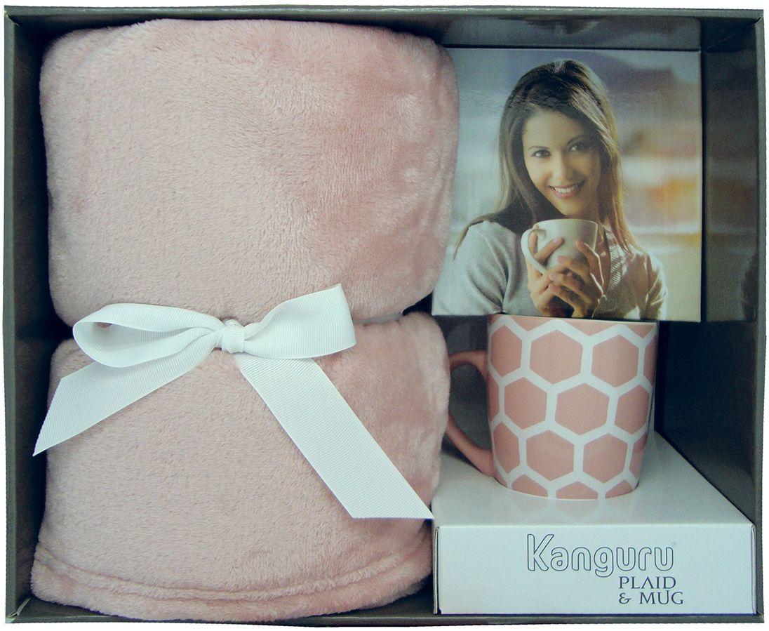 Pled różowy i kubek ceramiczny ZESTAW