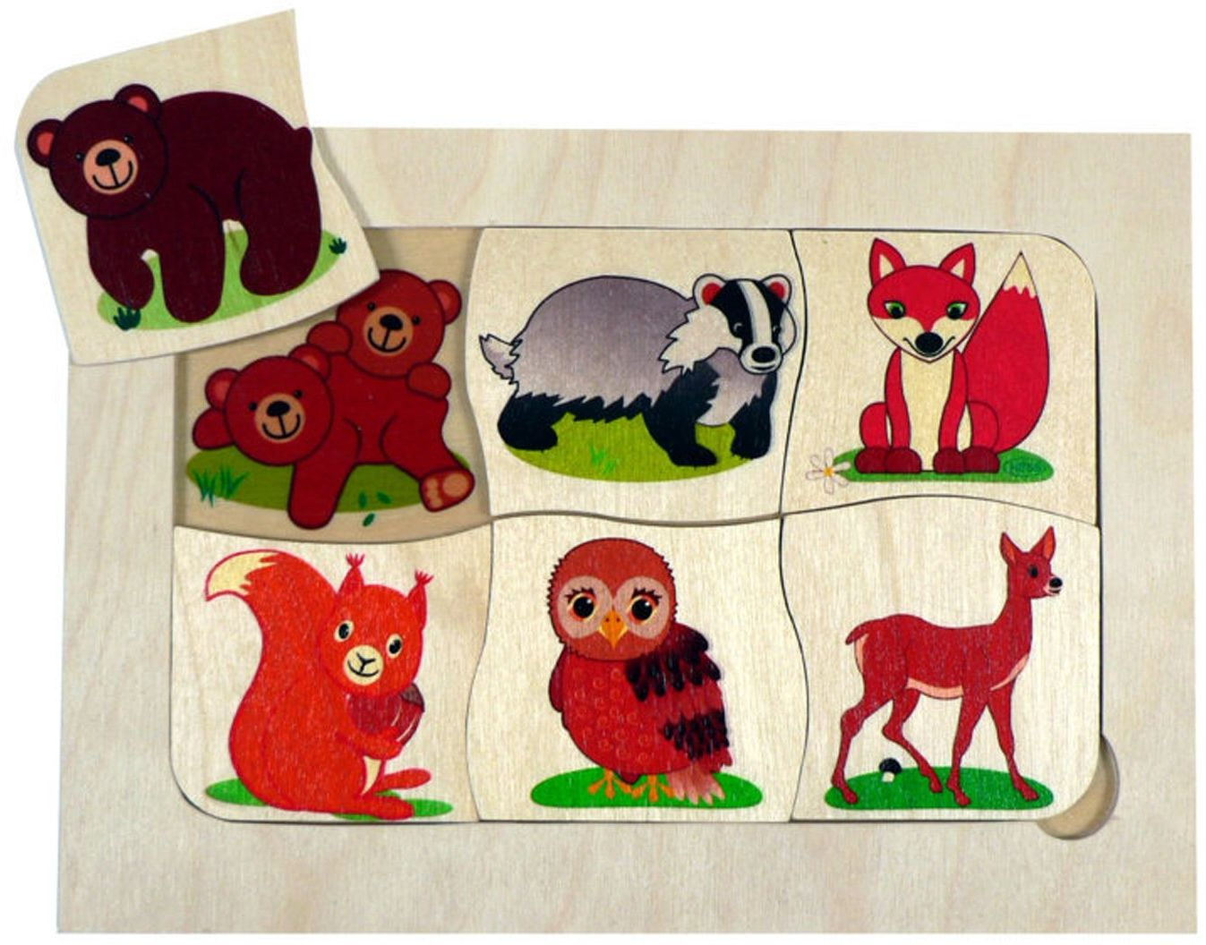 Hess 14926 Drewniane zabawki dla niemowląt ''Who is My Mama'', wielokolorowe