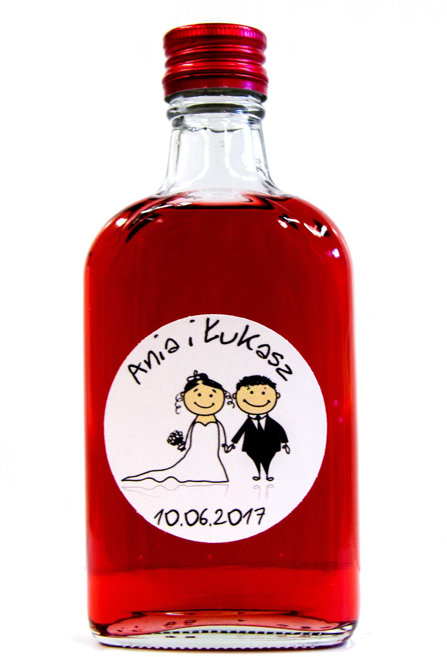 Buteleczka 200ml na nalewkę dla gości z naklejką