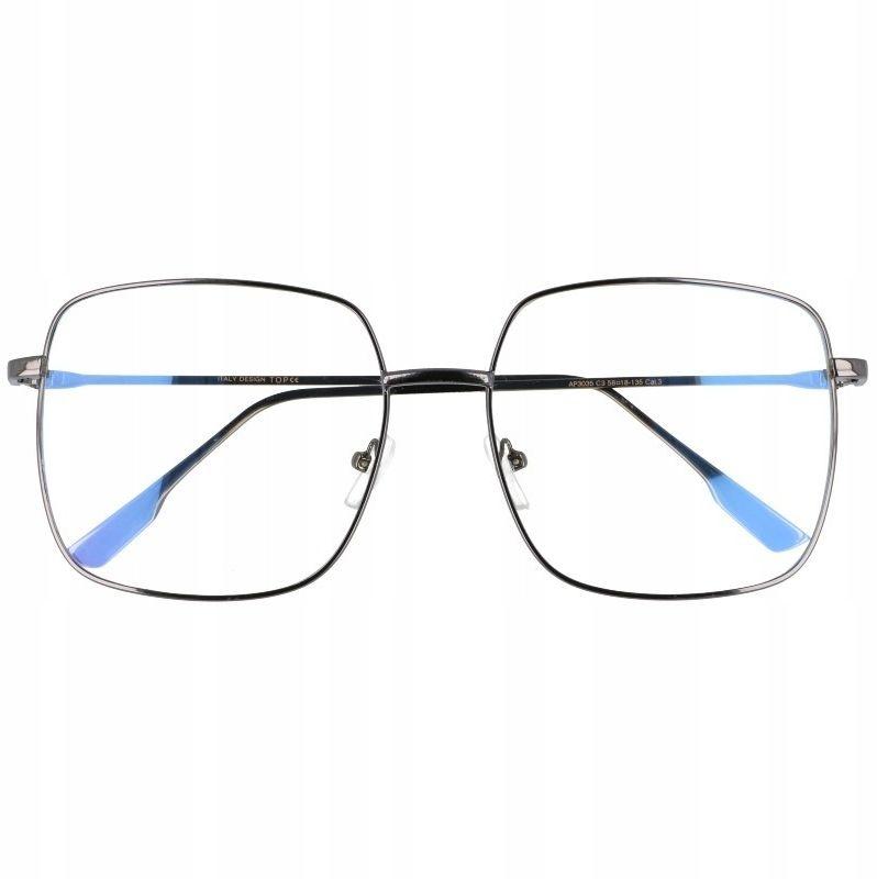 Okulary Kwadratowe z filtrem światła niebieskiego do komputera zerówki T7588A
