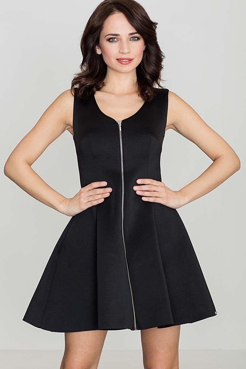 Czarna rozkloszowana sukienka bez rękawów z długim suwakiem na przodzie