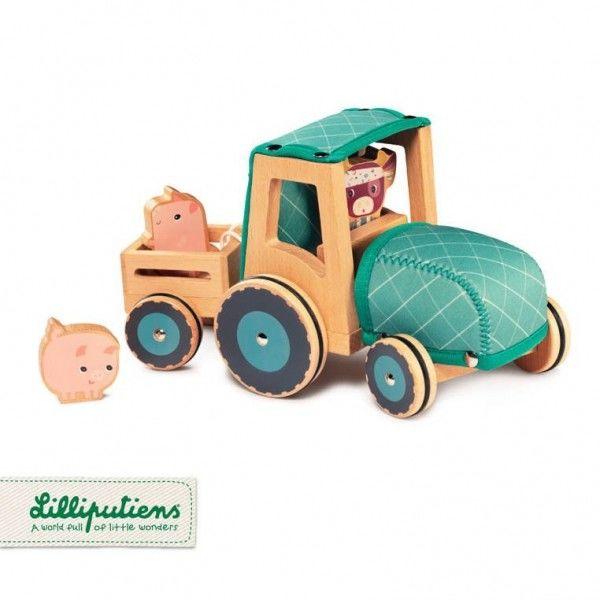 Lilliputiens - Lilliputiens Drewniany Traktor z Przyczepą i 2 Świnkami Krówka Rosalie 2 Lata+