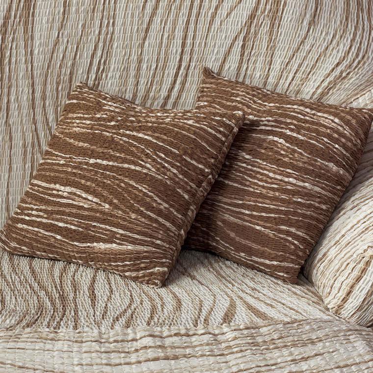 Bi-elastyczne pokrowce UNIVERSO cieniowane brąz poszewki na poduszkę 2 szt. (40 x 40 cm)