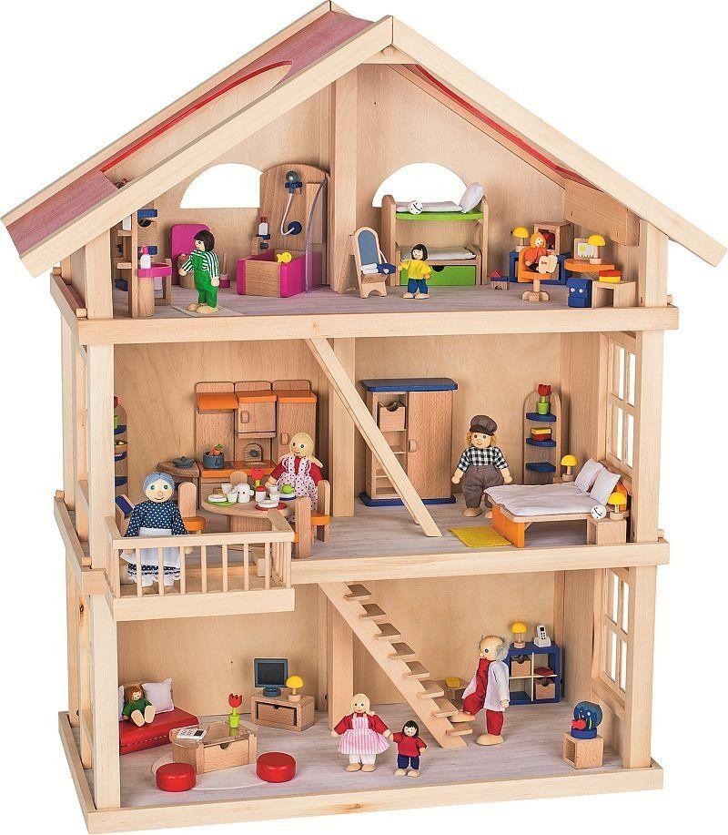 Duży, piętrowy domek dla lalek, goki