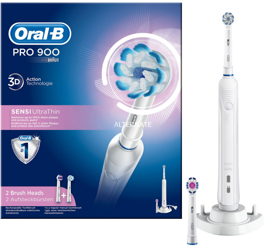 BRAUN Oral-B PRO 900 - szczoteczka elektryczna Oral-B z dwiema końcówkami Oral-B