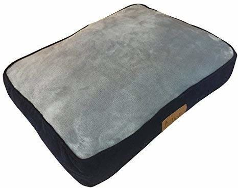 Ellie-Bo Klatka dla psa 24 cale lub klatka małe 56 cm x 41 cm łóżko dla psa niebieskie sztruks boki i i szara sztuczna nakładka z imitacji futra