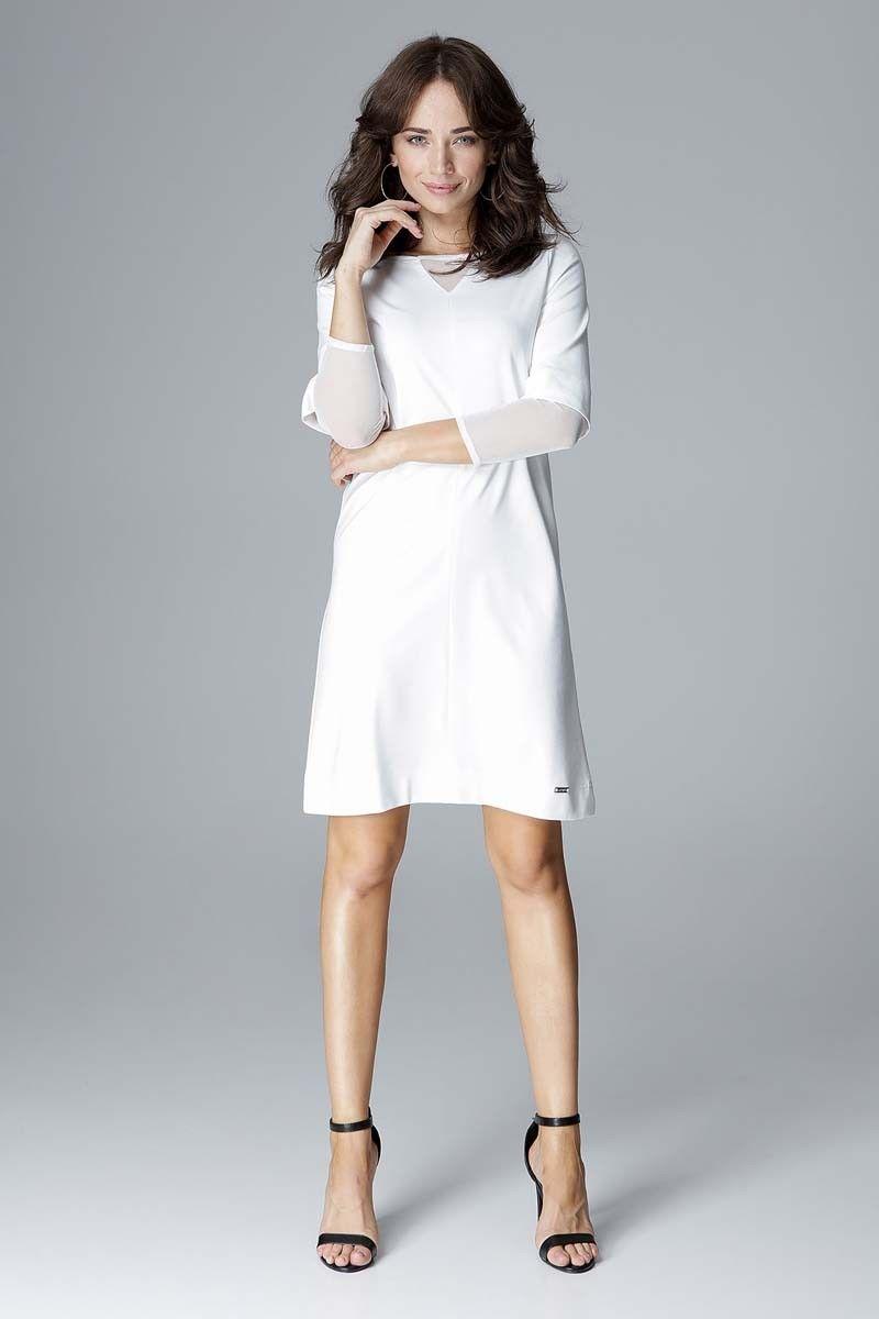Ecru wizytowa prosta sukienka z tiulowymi detalami