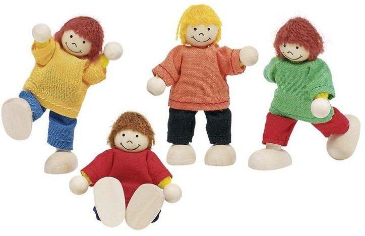 Drewniane laleczki - dzieci, goki