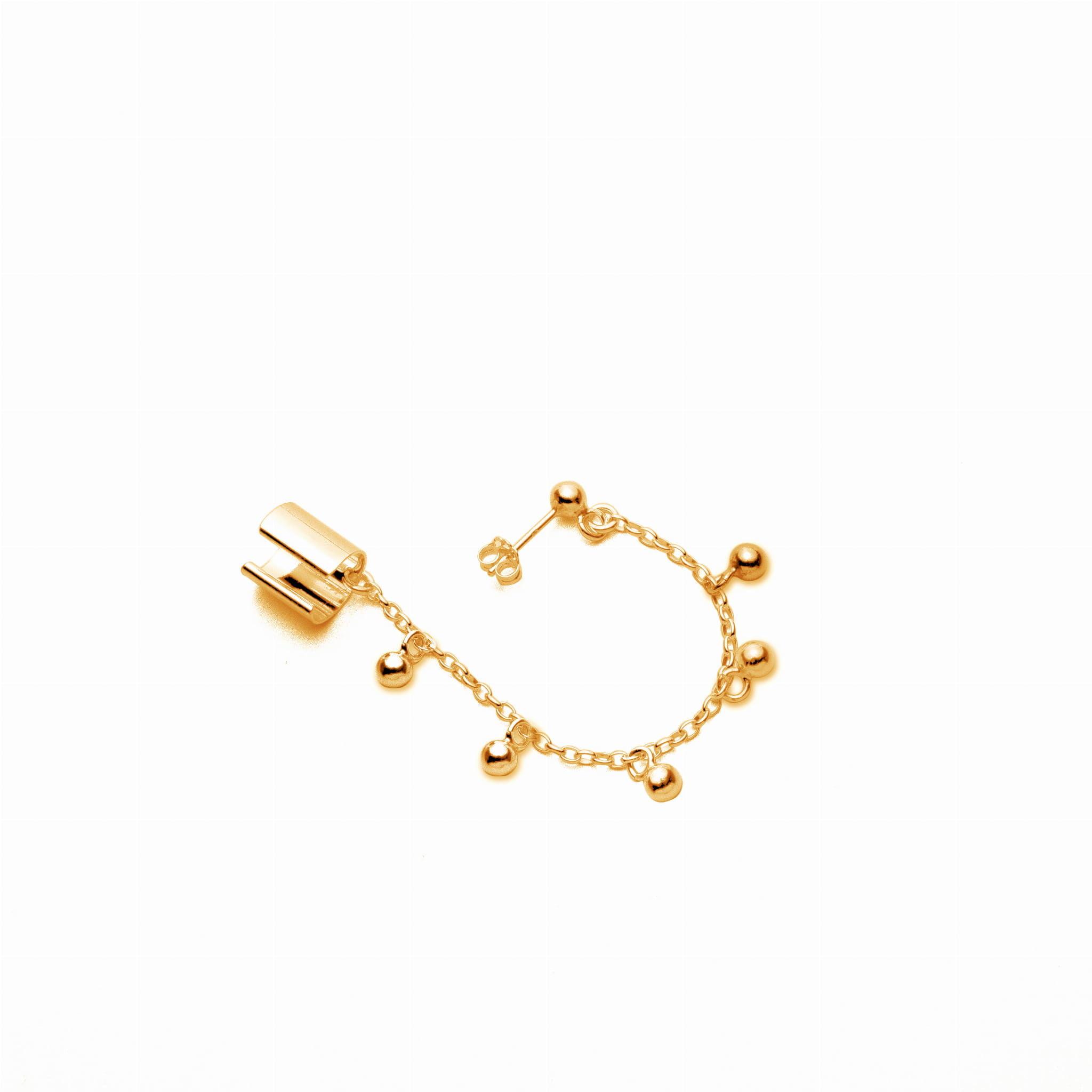 Kolczyk nausznica z łańcuszkiem & kuleczkami