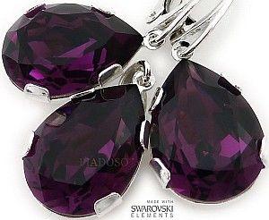 Kryształy Nowe Piękne Kolczyki Wisiorek Amethyst