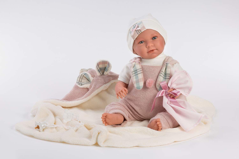 Llorens 1074080 lalka Mimi z niebieskimi oczami i miękkim ciałem, lalka niemowlęca w kolorze różowym śpioszki, łącznie z kocem, smoczkiem i łańcuszkiem na smoczek, 42 cm