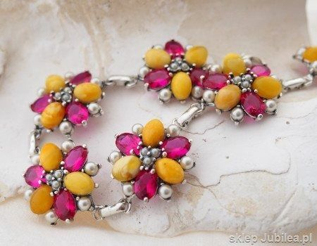 Srebrna bransoleta adriano bursztyny, rubiny perły