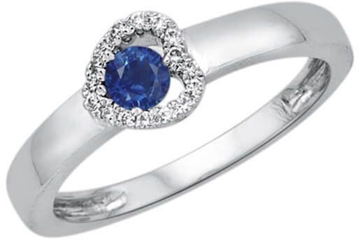 Złoty pierścionek Szafir - Diament