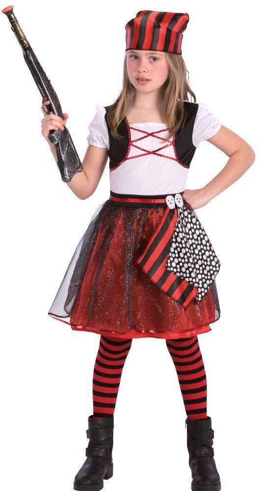Carnival Toys Kostium dziecięcy piratka dla dziewcząt, wielokolorowy, 98-104 cm 68742
