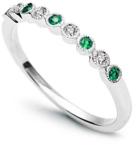 Złoty pierścionek - Diament Szmaragd