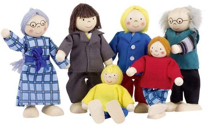 Miejska rodzinka, lalki drewniane, goki