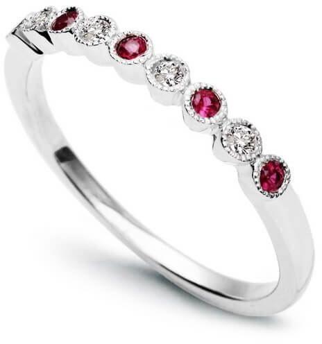 Złoty pierścionek Rubin - Diament