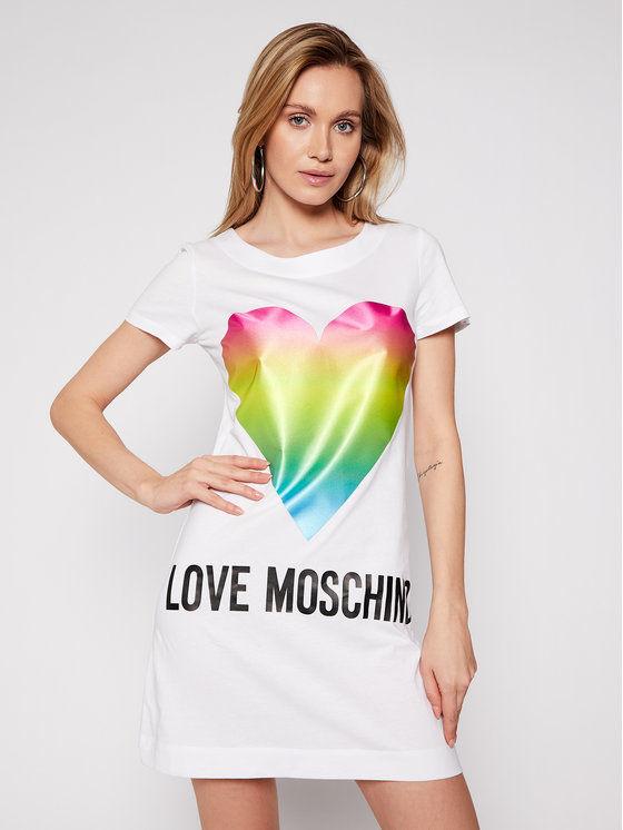 LOVE MOSCHINO Sukienka codzienna W592914M 3876 Biały Regular Fit