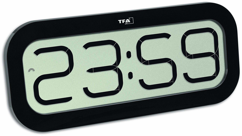 TFA Dostmann Bim Bam radiowy zegar ścienny, tworzywo sztuczne, czarny, dł. 332 x szer. 39 x wys. 178 mm