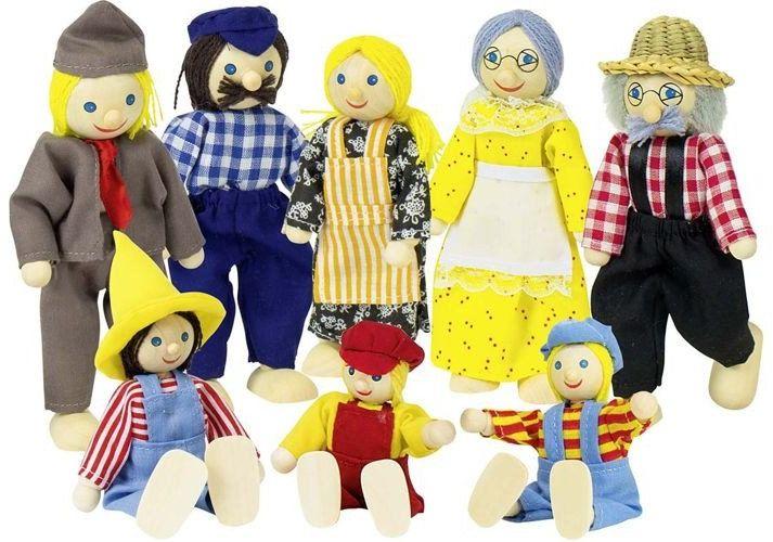 Duża farmerska rodzina, lalki drewniane, goki