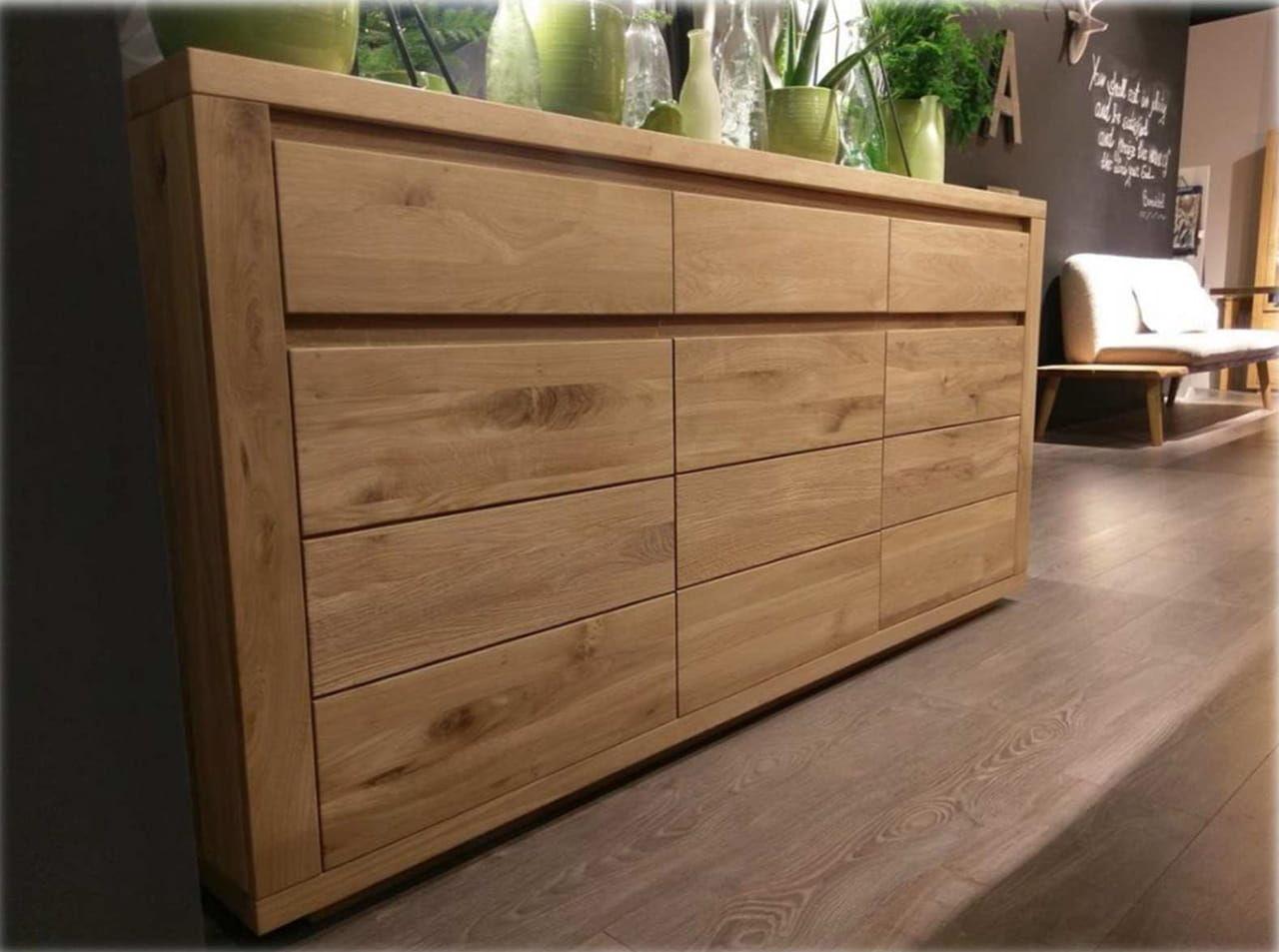 Kredens niski komoda lite drewno dębowe CASARANO 3D2S masywny