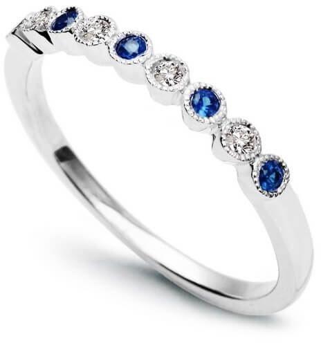 Złoty pierścionek Szafir Diament