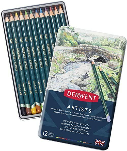 Derwent, 12 Kredek Derwent Artists do Rysowania i Kolorowania, Metalowe Pudełko (32092)