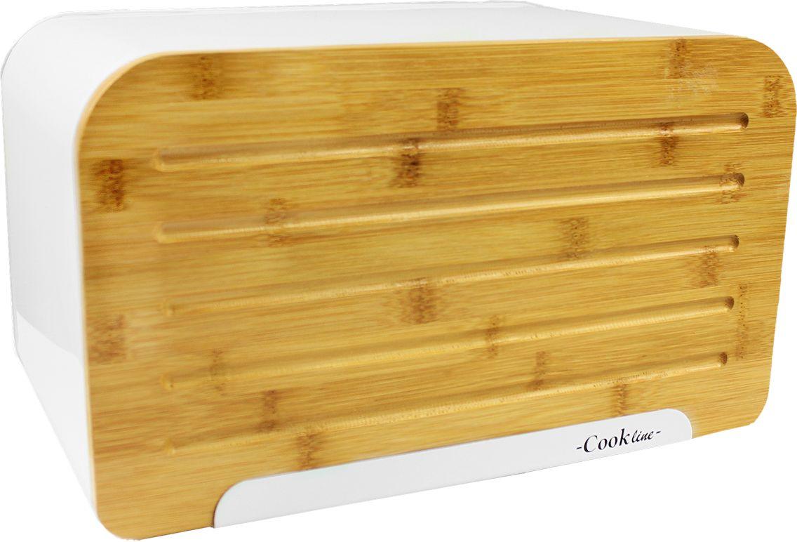 Chlebak z deską do krojenia biały 35 x 20 x 21cm
