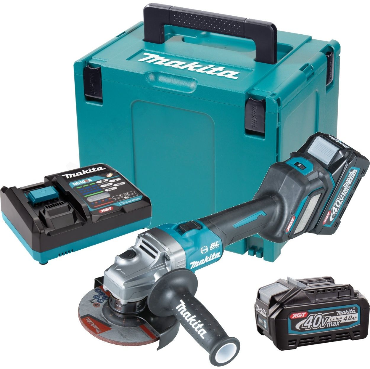 akumulatorowa szlifierka kątowa 125mm, 40V max Li-Ion, serii XGT, 2 x 4,0 Ah, Makita [GA023GM201]