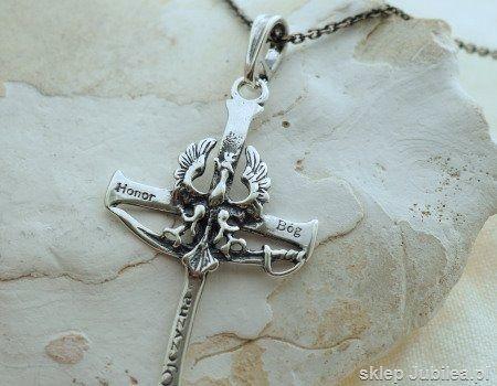 Srebrny krzyż - wisiorek bóg honor ojczyzna