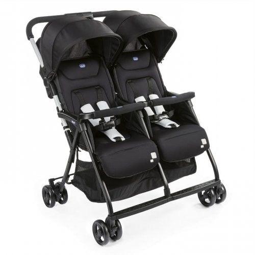 Chicco OHlala Twin wózek spacerowy podwójny super lekki 8 kg + pałąk + folia Black Night