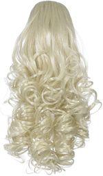 Love Hair Extensions kręcone krokodyl klips włosy syntetyczne koński ogon kolor 61 słoneczny blond 30 cm