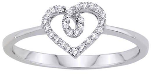 Złoty pierścionek serduszko - Diament