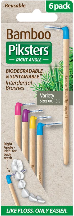 PIKSTERS BAMBOO Right Angle VARIETY PACK 4szt. - ekologiczne szczoteczki międzyzębowe