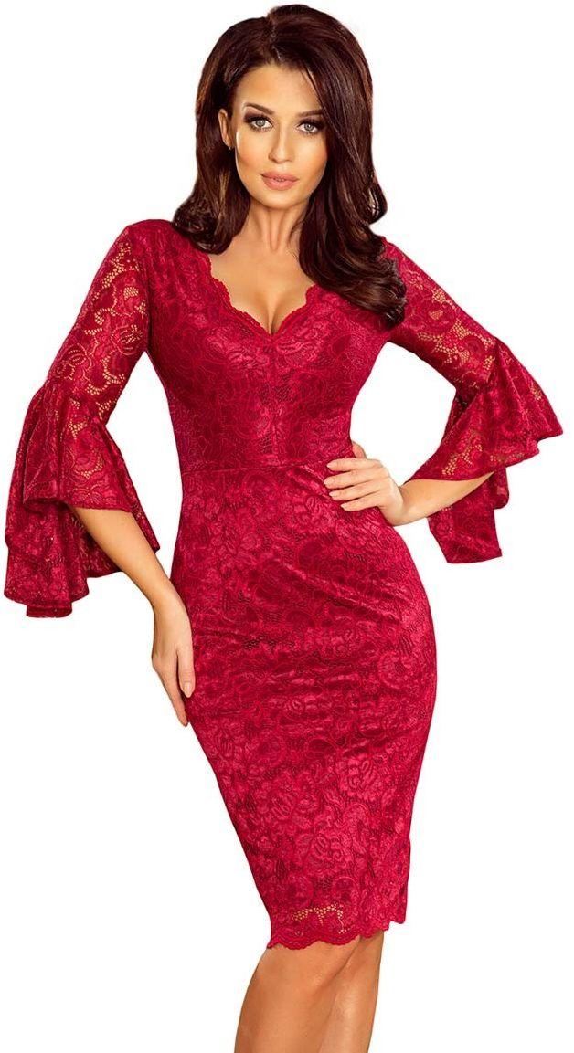 Bordowa wieczorowa sukienka koronkowa z hiszpańskim rękawem