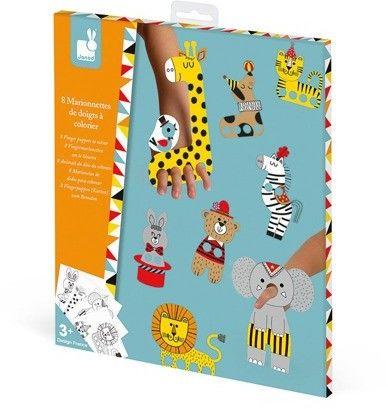 Janod - Zestaw Kreatywny Papierowe Marionetki na Palce Cyrkowe Zwierzęta