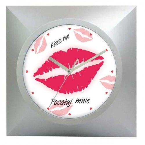 Zegar kwadratowy srebrny pocałunek