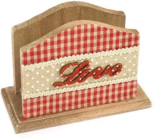H & H Serce czerwony wieszak na serwetki z drewna, czerwony, 12 x 9 x 16 cm