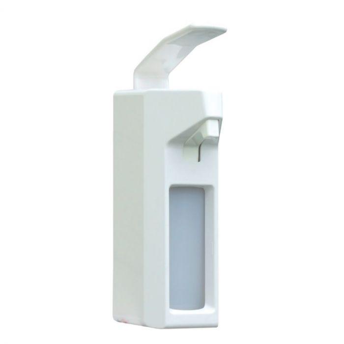 Dozownik płynów dezynfekcyjnych z przezroczystym zbiornikiem i przyciskiem łokciowym