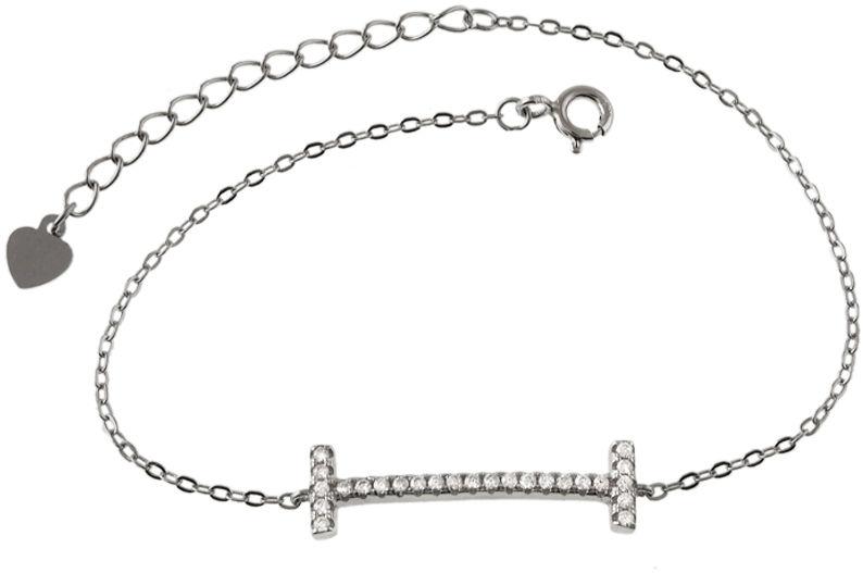 Srebrna bransoletka 925 łańcuszek z przywieszką cyrkonie 2,0 g