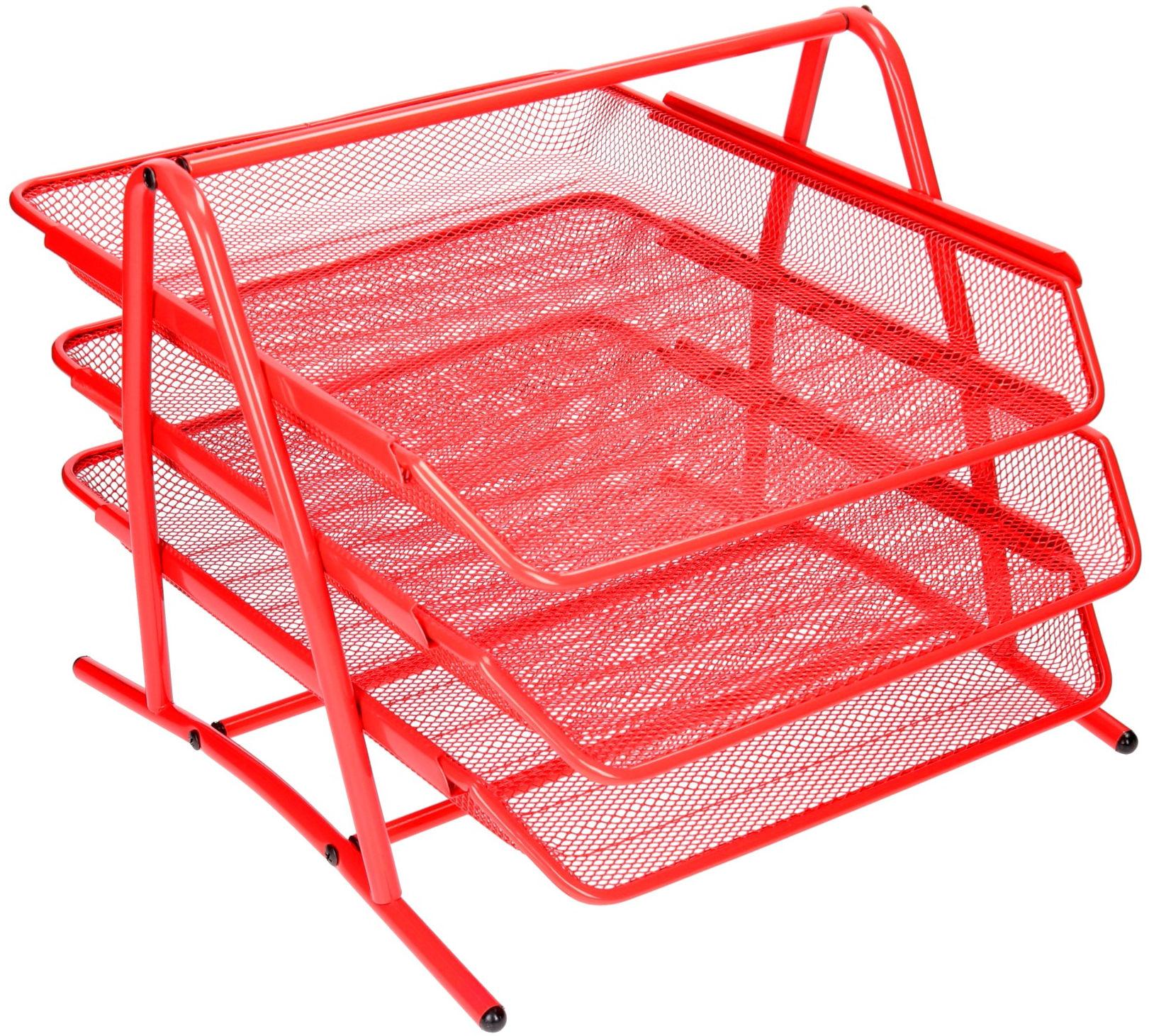 Półka na dokumenty siatka czerwona 3 szuflady 3A Net W2001